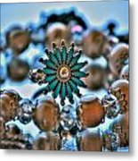 0001 Turquoise And Pearls Metal Print