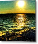 0001 Windy Waves Sunset Rays Metal Print
