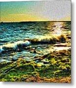 00015 Windy Waves Sunset Rays Metal Print