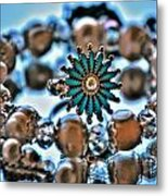 0003 Turquoise And Pearls Metal Print
