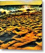 0008 Windy Waves Sunset Rays Metal Print