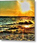 0009 Windy Waves Sunset Rays Metal Print
