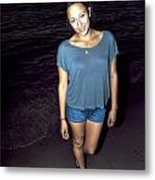 001 A Sunset With Eyes That Smile Soothing Sounds Of Waves For Miles Portrait Series Metal Print