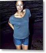 002 A Sunset With Eyes That Smile Soothing Sounds Of Waves For Miles Portrait Series Metal Print