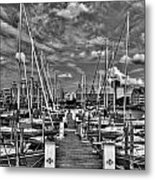 005bw On A Summers Day  Erie Basin Marina Summer Series Metal Print