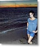 006 A Sunset With Eyes That Smile Soothing Sounds Of Waves For Miles Portrait Series Metal Print