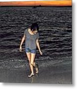 008 A Sunset With Eyes That Smile Soothing Sounds Of Waves For Miles Portrait Series Metal Print