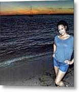 010 A Sunset With Eyes That Smile Soothing Sounds Of Waves For Miles Portrait Series Metal Print