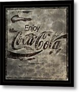 Coca Cola Sign Grungy Red Retro Style Metal Print