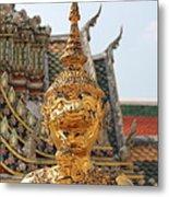 Demon Guardian Statues At Wat Phra Kaew Metal Print by Panyanon Hankhampa