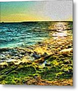 00013 Windy Waves Sunset Rays Metal Print