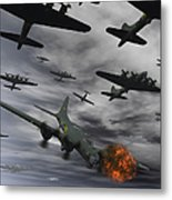 A B-17 Flying Fortress Is Set Ablaze Metal Print