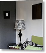 A Bedroom In A House. A Double Bed Metal Print