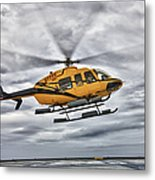 A Bell 407 Utility Helicopter Prepares Metal Print