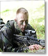 A British Soldier Armed With A Sa80 Metal Print
