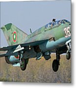 A Bulgarian Air Force Mig-21um Jet Metal Print by Anton Balakchiev