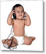 A Chubby Little Girl Listen To Music With Headphones  Metal Print