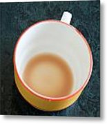 A Cup With The Remains Of Tea On A Green Table Metal Print