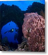 A Diver Looks On At A Giant Barrel Metal Print