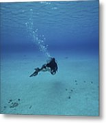 A Diver On A Scooter Explores The Clear Metal Print