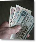 A Hand Holds Egyptian Pounds In Cash Metal Print