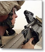 A Marine Aims In With A M-32 Multiple Metal Print