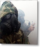 A Marine Wearing A Gas Mask Metal Print