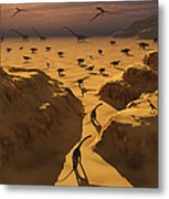 A Mixed Herd Of Dinosaurs Migrate Metal Print