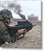 A Peruvian Marine Assaults A Beach Metal Print