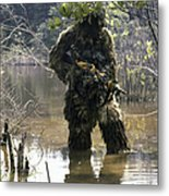 A Sniper Dressed In A Ghillie Suit Metal Print