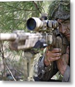 A Sniper Sights In On A Target Metal Print