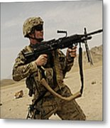 A Soldier Firing His Mk-48 Machine Gun Metal Print