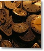 A Still Life Of Old Watch Faces Metal Print