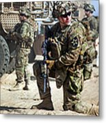 A U.s. Army Soldier Provides Security Metal Print