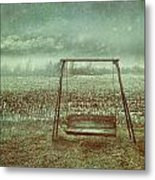 Abandoned  Swing In First Snow Storm Of Winter Metal Print by Sandra Cunningham