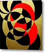 Abstract In Gold Black And Red Metal Print