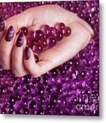Abstract Woman Hand With Purple Nail Polish Metal Print