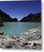 Acidic Crater Lake On Kawah Ijen Metal Print