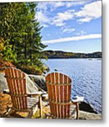 Adirondack Chairs At Lake Shore Metal Print