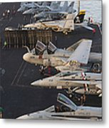 Aircraft Parked On The Flight Deck Metal Print