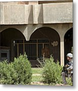 Airman Conducts Security Metal Print