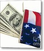 American Flag Wallet With 100 Dollar Bills Metal Print by Blink Images