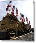 American Flags Are Displayed Metal Print
