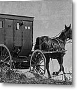 Amish Buggy Black And White Metal Print