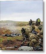 An 81mm Mortar Team Live Firing Metal Print