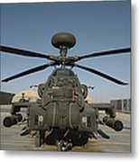 An Apache Helicopter At Camp Bastion Metal Print