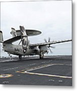 An E-2c Hawkeye Launches Off The Flight Metal Print