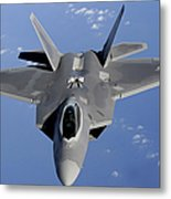 An F-22 Raptor Moves Into Position Metal Print