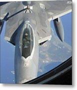 An F-22 Raptor Receives Fuel Metal Print
