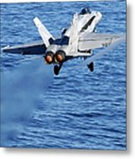 An Fa-18c Hornet Taking Off Metal Print